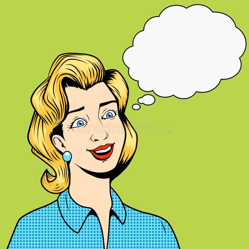 Κορίτσι χωρίς διάνυσμα ύφους κόμικς σκέψεων ελεύθερη απεικόνιση δικαιώματος