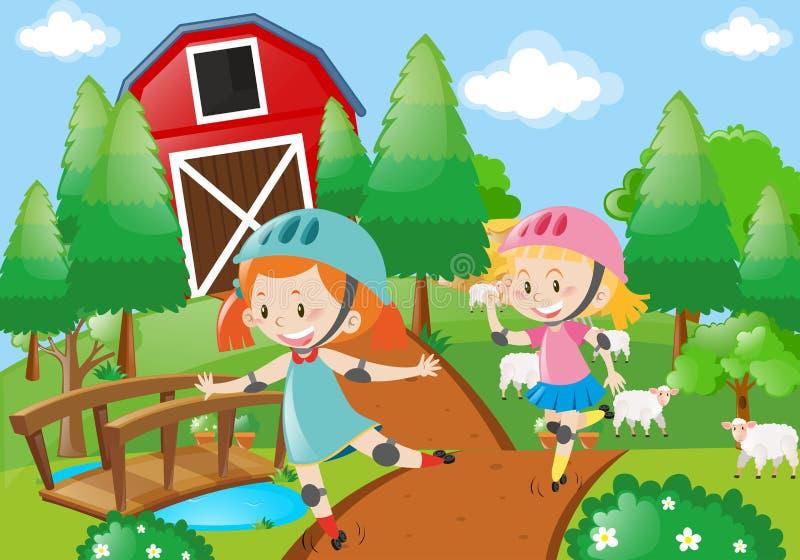 Κορίτσι δύο rollerskate στην αυλή διανυσματική απεικόνιση