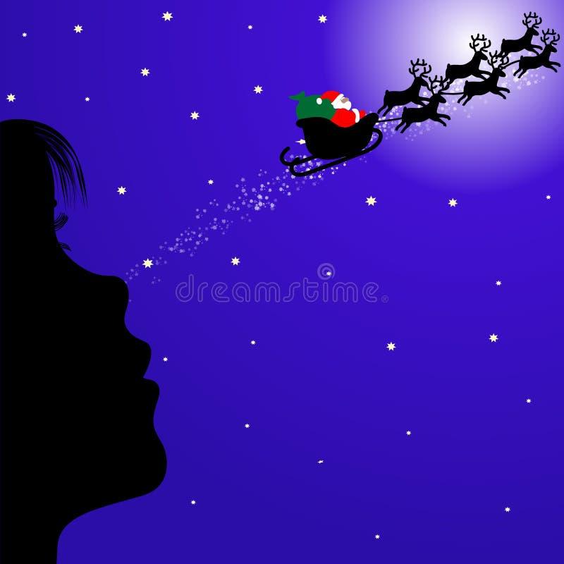 κορίτσι Claus που φαίνεται santa απεικόνιση αποθεμάτων