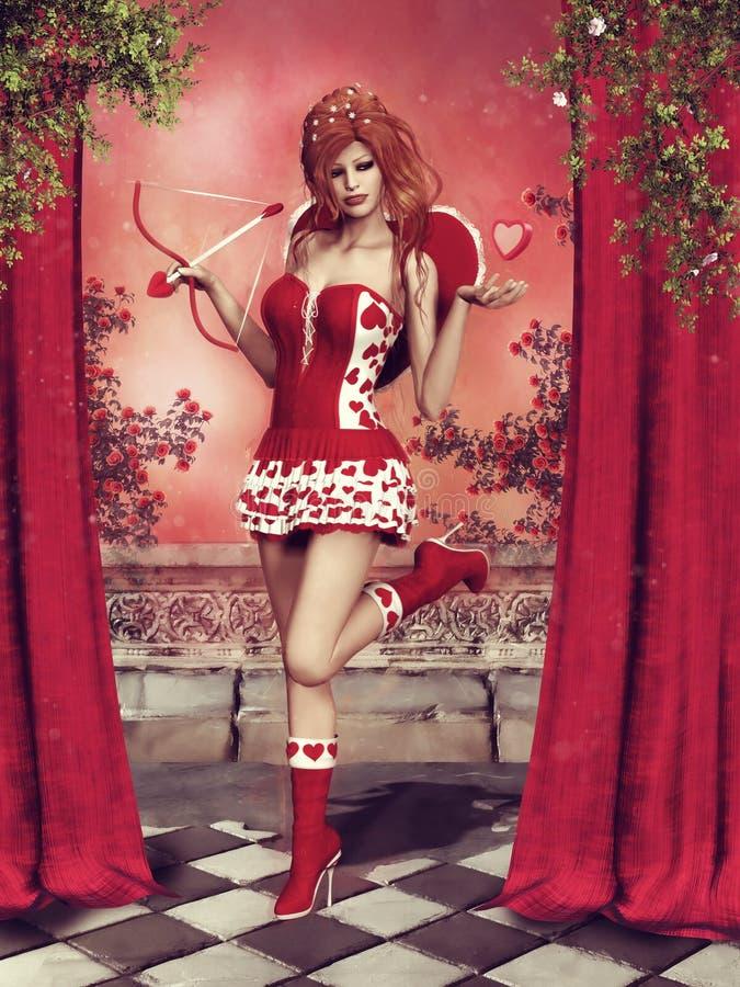 Κορίτσι Cupid με τις καρδιές διανυσματική απεικόνιση