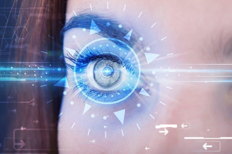 Κορίτσι Cyber με το technolgy μάτι που εξετάζει την μπλε ίριδα διανυσματική απεικόνιση