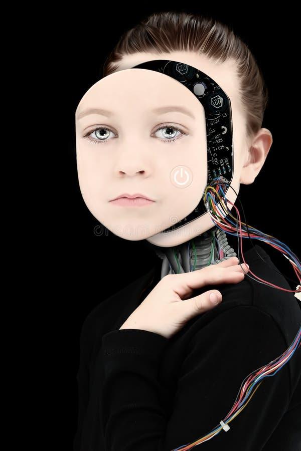 Κορίτσι Cyborg με το ανοικτό πρόσωπο στοκ φωτογραφίες