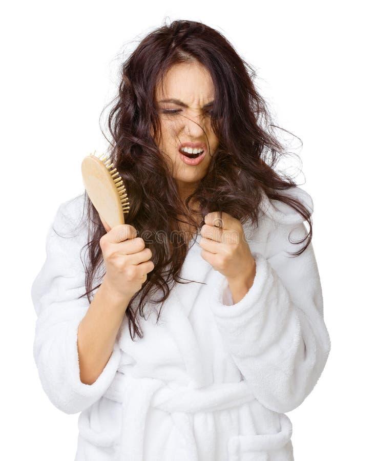 Κορίτσι Displeased με την μπλεγμένη τρίχα στοκ εικόνα με δικαίωμα ελεύθερης χρήσης