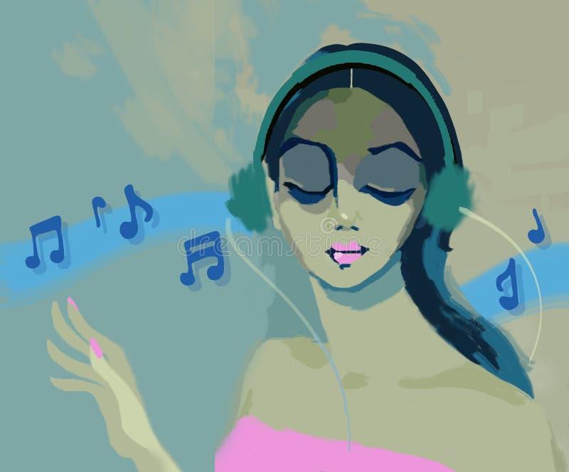 Κορίτσι Glamours που ακούει τη μουσική με ένα ακουστικό διανυσματική απεικόνιση
