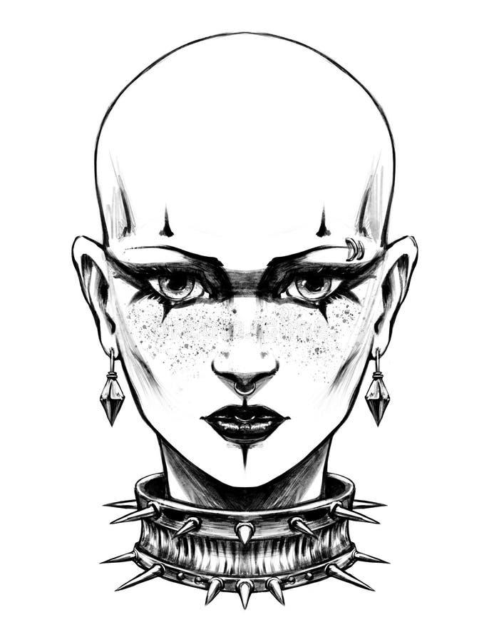Κορίτσι Goth με τις δερματοστιξίες διανυσματική απεικόνιση