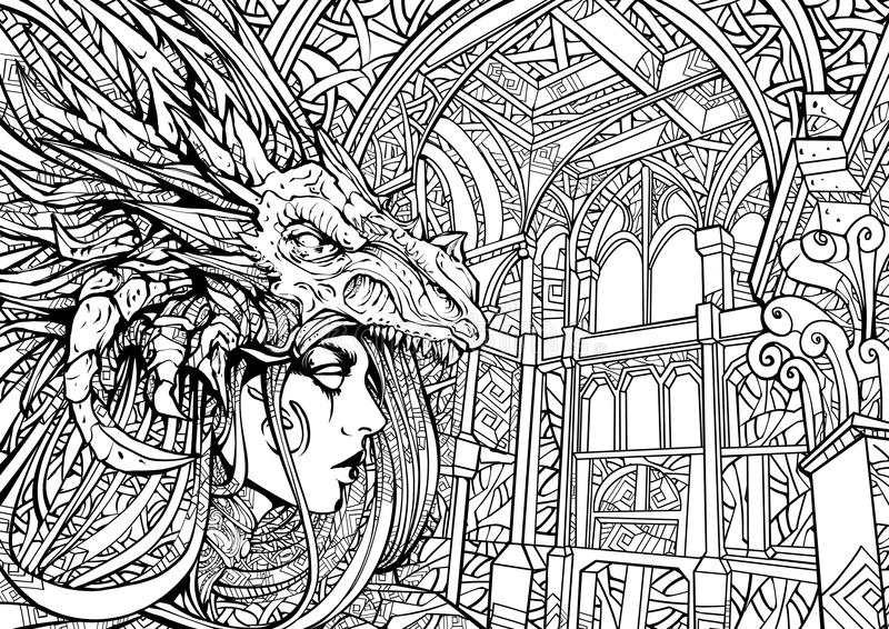 Κορίτσι Goth στην γραμμή-τέχνη μασκών δράκων zen απεικόνιση αποθεμάτων