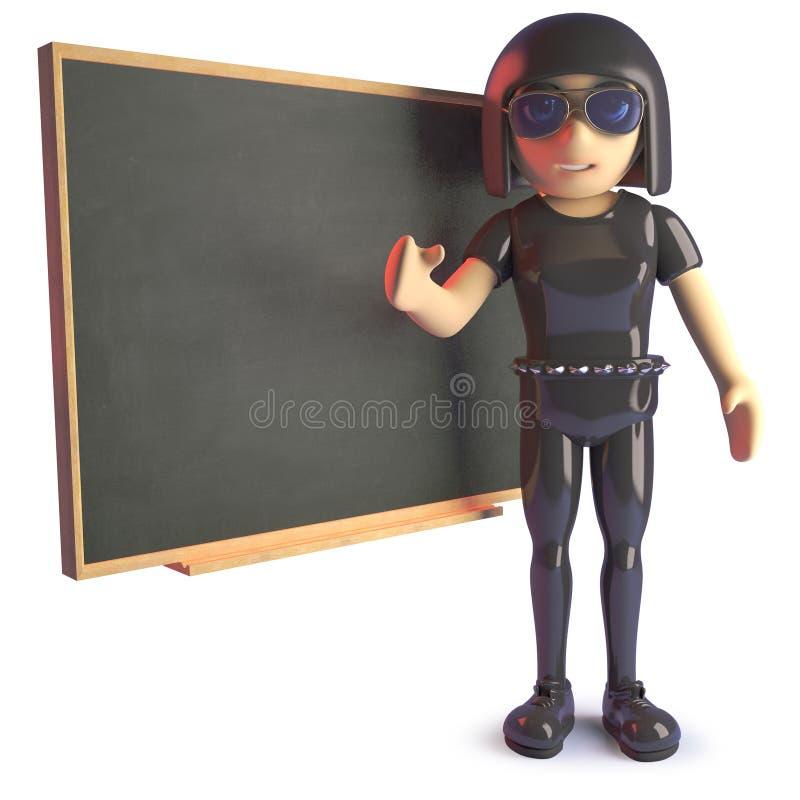 Κορίτσι Goth στη διδασκαλία δέρματος στον πίνακα κιμωλίας, τρισδιάστατη απεικόνιση ελεύθερη απεικόνιση δικαιώματος