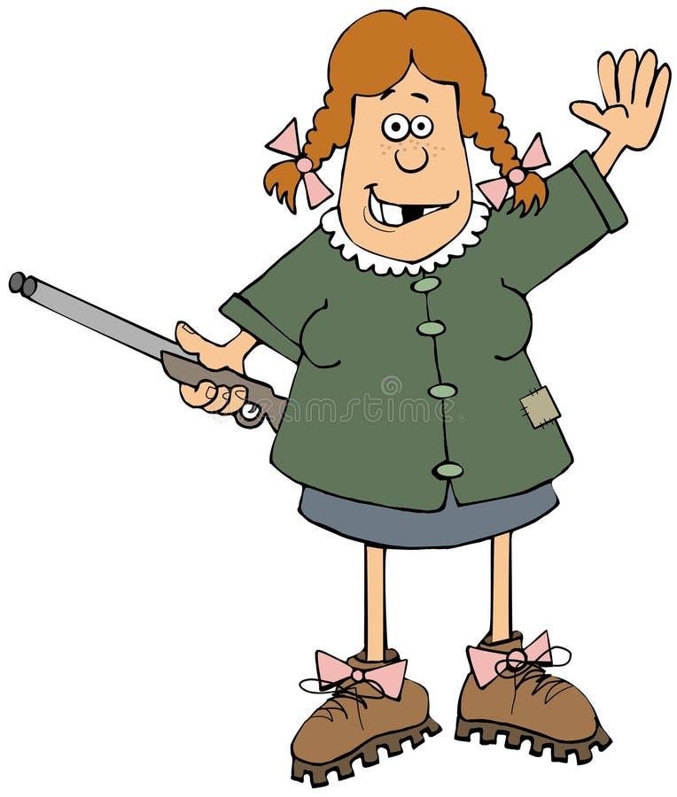 Κορίτσι Hillbilly με ένα κυνηγετικό όπλο ελεύθερη απεικόνιση δικαιώματος