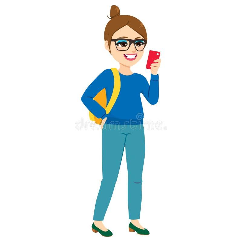 Κορίτσι Hipster που ελέγχει Smartphone ελεύθερη απεικόνιση δικαιώματος