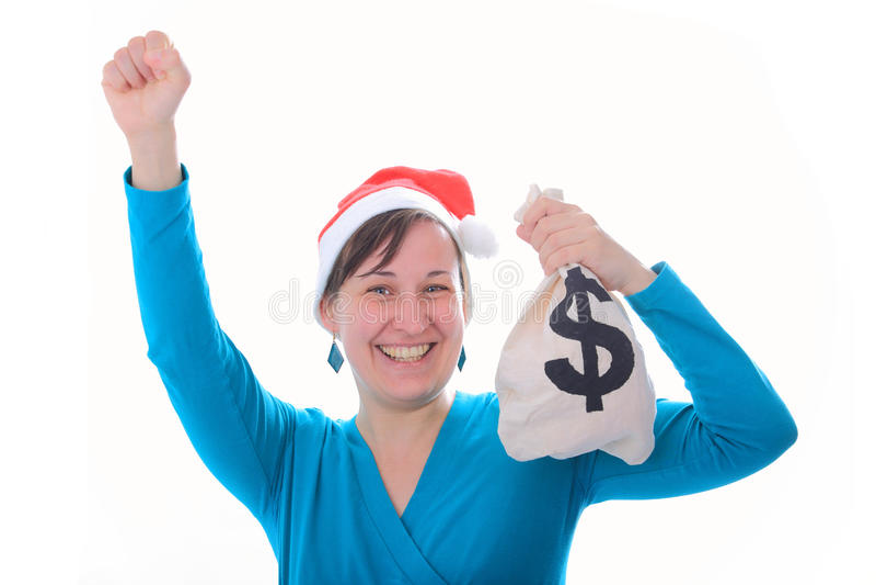 Κορίτσι Santa με το σάκο χρημάτων στοκ εικόνα