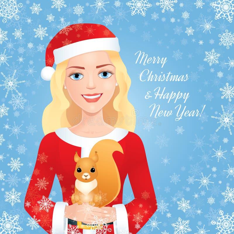 Κορίτσι Santa με το σκίουρο στο μπλε διανυσματική απεικόνιση