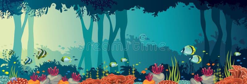 Κοραλλιογενής ύφαλος, ψάρια, υποβρύχια σπηλιά, θάλασσα, πανοραμικός ωκεανός διανυσματική απεικόνιση