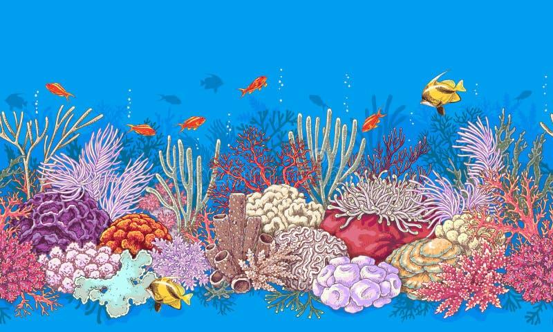 Κοραλλιογενής ύφαλος και σχέδιο ψαριών απεικόνιση αποθεμάτων