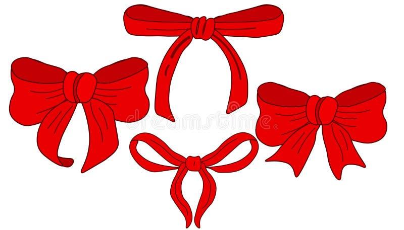 Κορδέλλα και σύνολο Ιστού διανυσματική όμορφη κόκκινη διανυσματική απεικόνιση