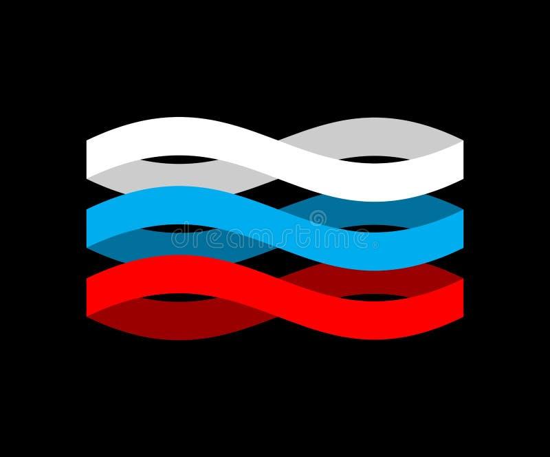Κορδέλλα σημαιών της Ρωσίας που απομονώνεται Ρωσική εθνική ταινία συμβόλων κράτος ελεύθερη απεικόνιση δικαιώματος