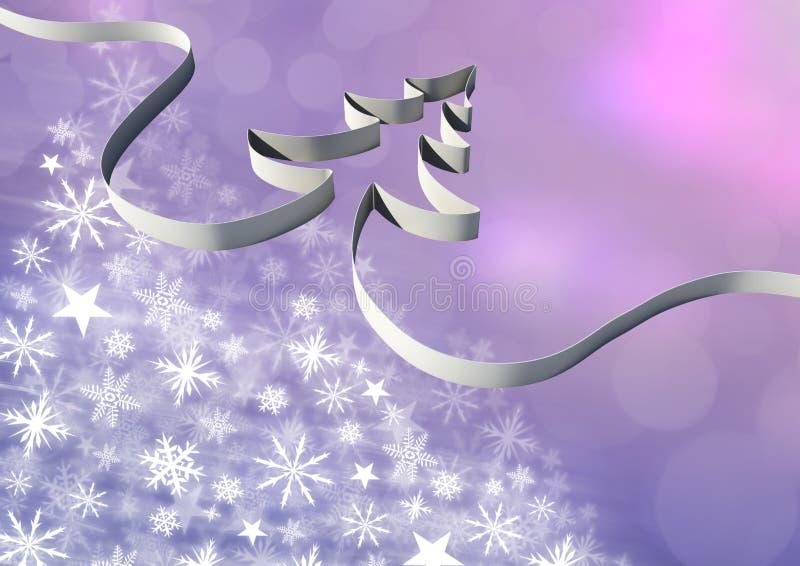 Κορδέλλα χριστουγεννιάτικων δέντρων και Snowflake σχέδιο Χριστουγέννων διανυσματική απεικόνιση