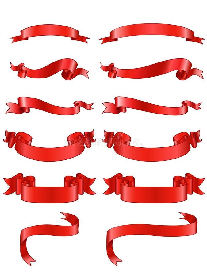 Κορδέλλες που τίθενται κόκκινες ελεύθερη απεικόνιση δικαιώματος