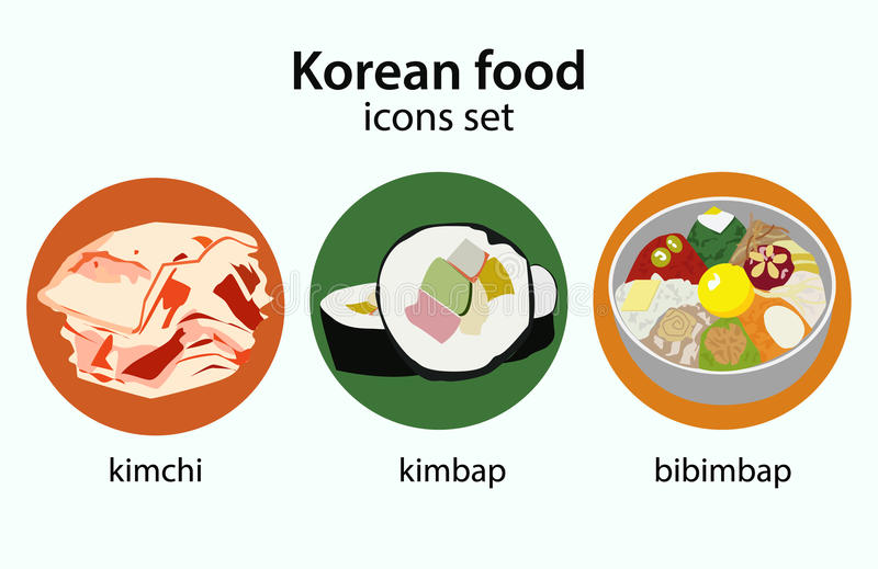 Κορεατικά εικονίδια σχεδίου τροφίμων επίπεδα καθορισμένα ελεύθερη απεικόνιση δικαιώματος