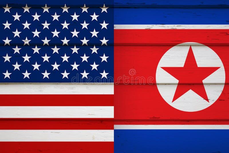 Κορεατικές σημαίες Αμερικανού και του Βορρά στοκ εικόνες