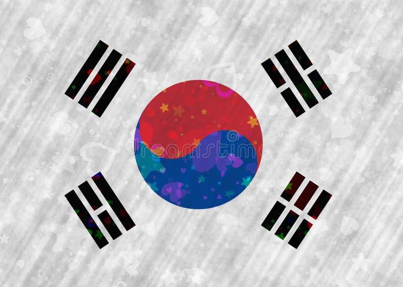 Κορεατική σημαία με τα κίνητρα καρδιών και αστεριών διανυσματική απεικόνιση