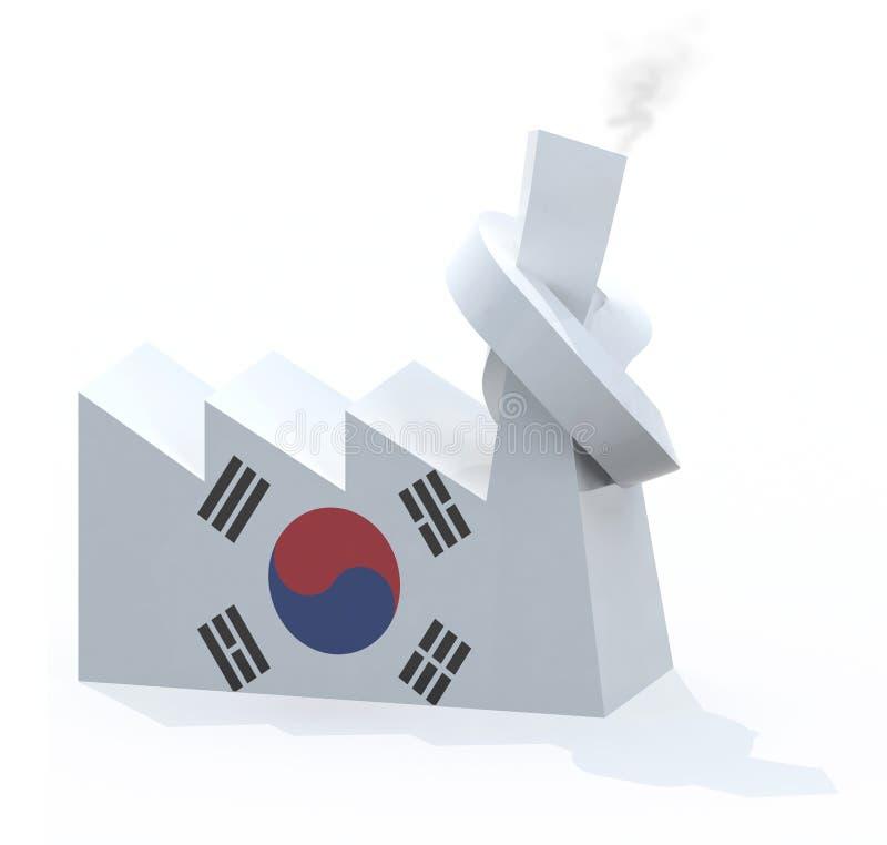Κορεατικό εργοστάσιο την καπνοδόχο που δένεται με διανυσματική απεικόνιση