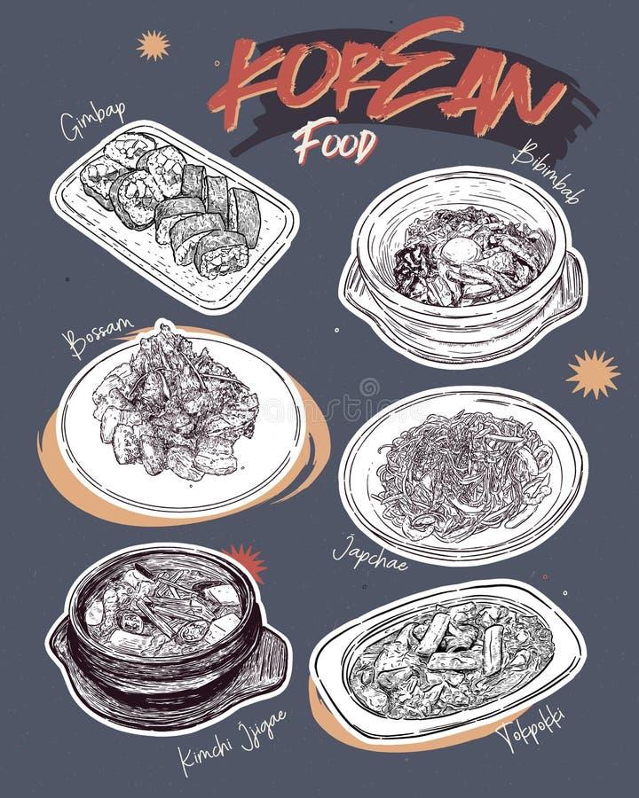 Κορεατικό εστιατόριο επιλογών τροφίμων Κορεατικές επιλογές σκίτσων τροφίμων απεικόνιση αποθεμάτων
