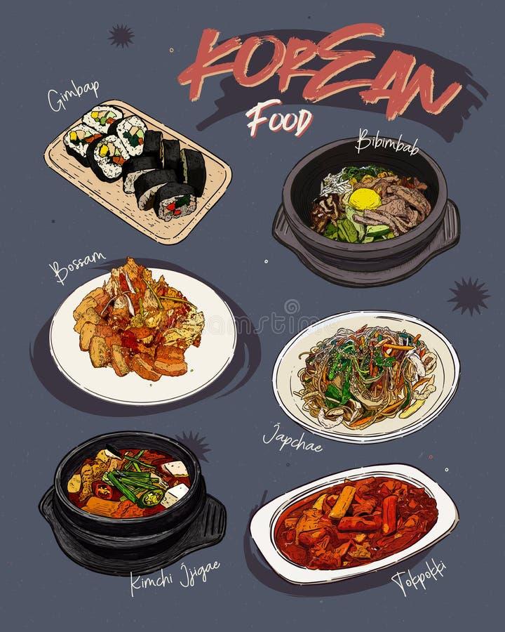 Κορεατικό εστιατόριο επιλογών τροφίμων Κορεατικές επιλογές σκίτσων τροφίμων ελεύθερη απεικόνιση δικαιώματος