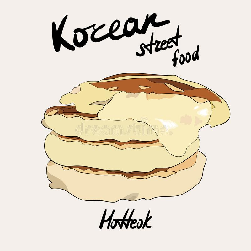 Κορεατικό πιάτο τροφίμων οδών hotteok Κορεατικό παραδοσιακό πιάτο Τηγανίτα με το τυρί διανυσματική απεικόνιση