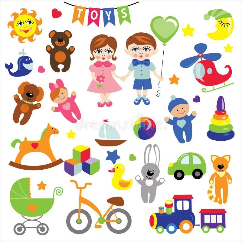 Κοριτσάκι και αγόρι με τα εικονίδια παιχνιδιών μωρών EPS απεικόνιση αποθεμάτων