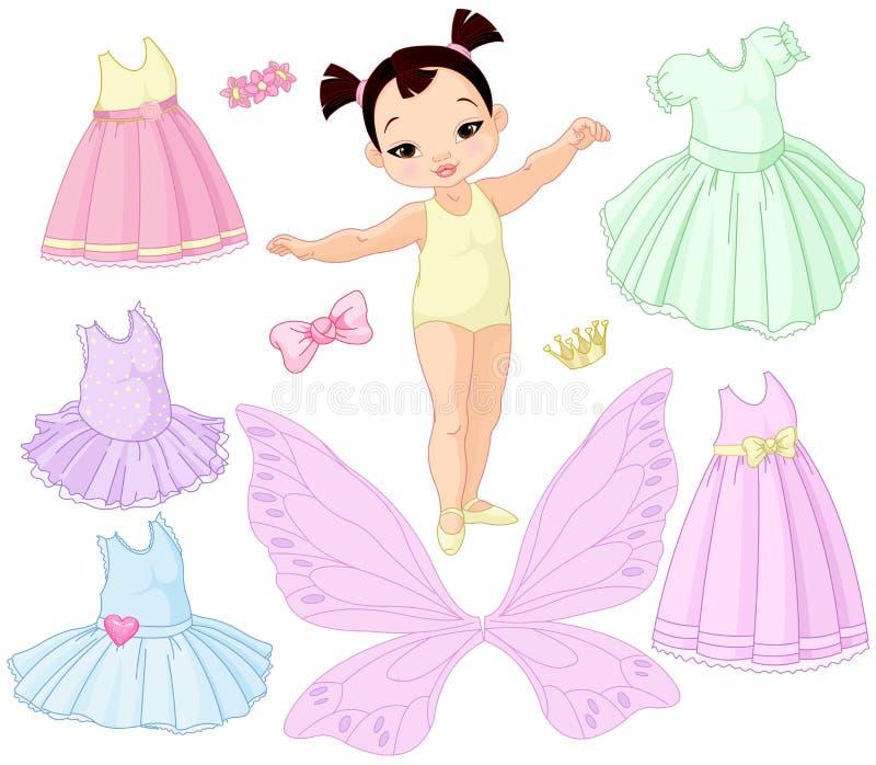 Κοριτσάκι με τα διαφορετικά φορέματα νεράιδων, μπαλέτου και πριγκηπισσών ελεύθερη απεικόνιση δικαιώματος