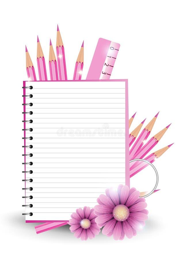 Κοριτσίστικος πίσω στο σχολική υπόβαθρο ή την κάρτα διανυσματική απεικόνιση