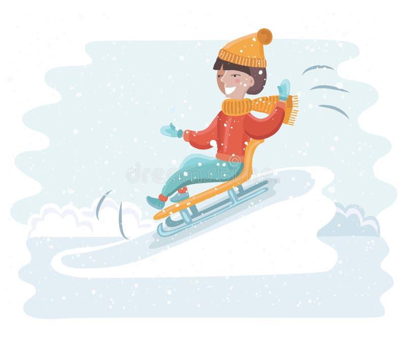Κοριτσιών στο χιόνι διανυσματική απεικόνιση