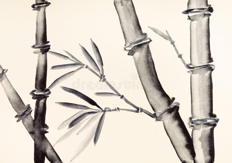 Κορμοί μπαμπού χρωματισμένο σε ελεφαντόδοντο χαρτί διανυσματική απεικόνιση