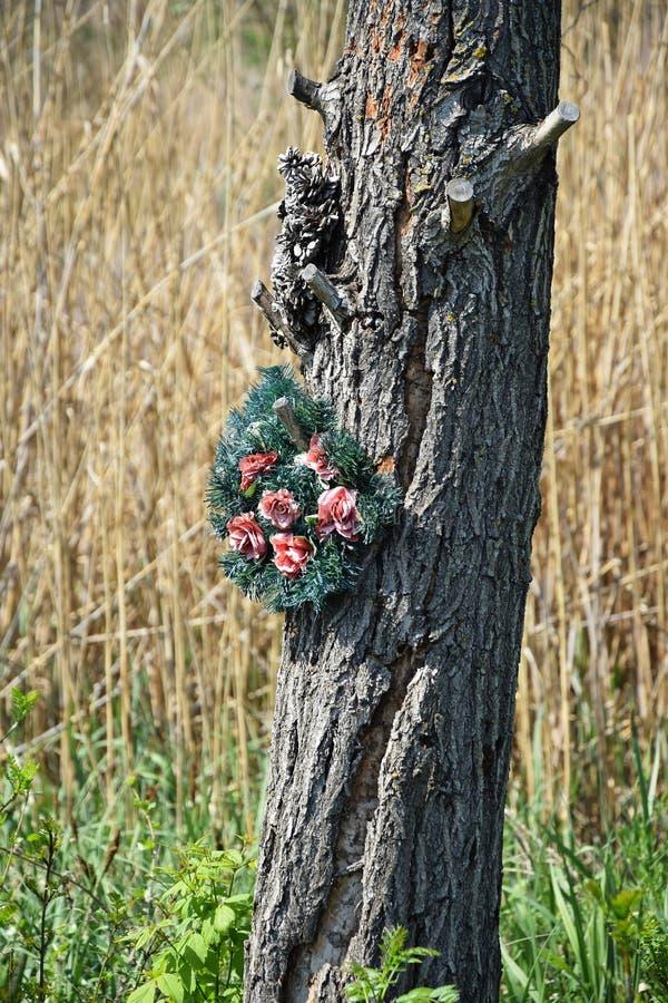 Κορμός δέντρων με ένα στεφάνι στοκ φωτογραφίες με δικαίωμα ελεύθερης χρήσης