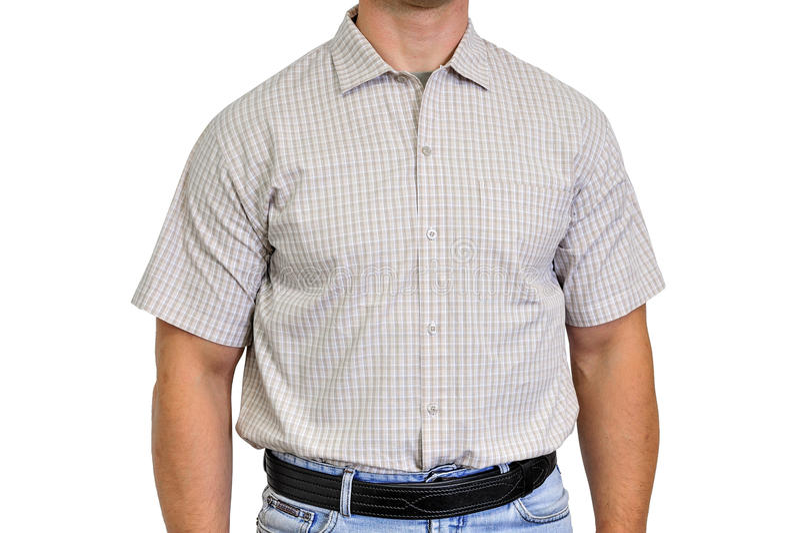 Κορμός ενός ατόμου που ντύνεται στα πολιτικά ενδύματα, κάτω από το πουκάμισο στοκ φωτογραφίες