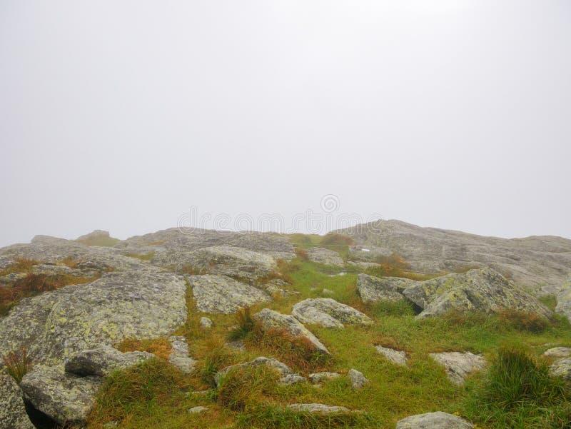 Κορυφή ενός βουνού κατά τη διάρκεια μιας ομιχλώδους θερινής ημέρας Εξόγκωμα καμηλών, Βερμόντ, ΗΠΑ στοκ φωτογραφίες με δικαίωμα ελεύθερης χρήσης