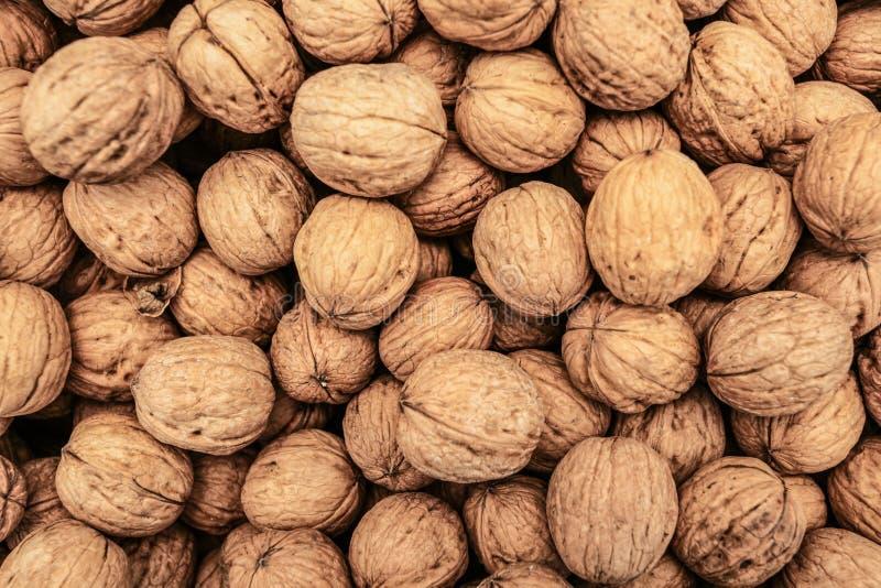 Κορυφή κάτω από την άποψη, ολόκληρα ξύλα καρυδιάς που επιδεικνύονται στην αγορά τροφίμων στη Κερύνεια, Κύπρος στοκ εικόνες