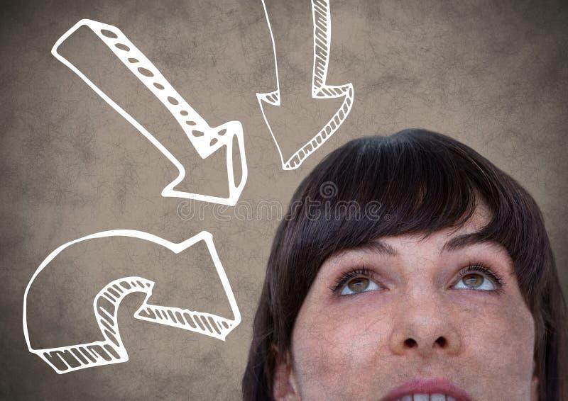 Κορυφή του κεφαλιού της γυναίκας που εξετάζει τα άσπρα προς τα κάτω βέλη στο καφετί κλίμα με την επικάλυψη grunge απεικόνιση αποθεμάτων