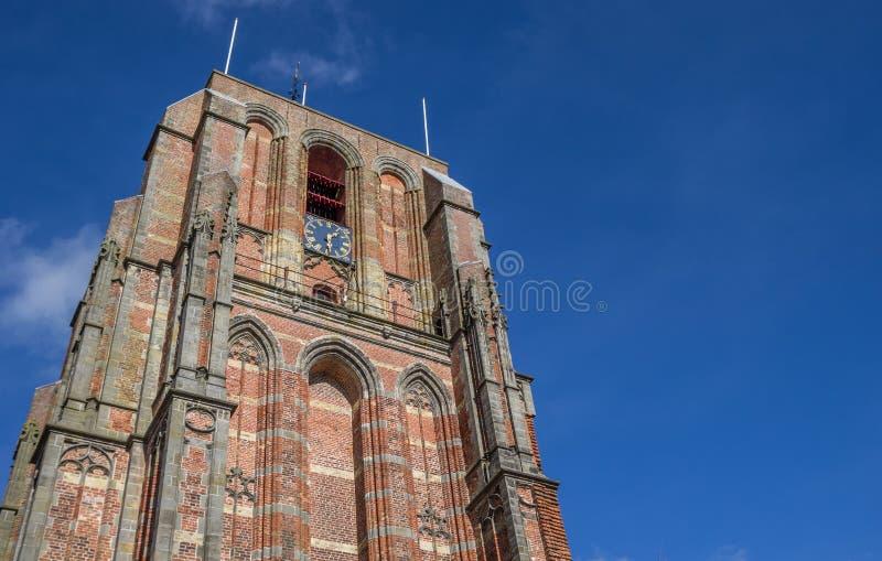 Κορυφή του κλίνοντας πύργου Oldehove στο leeeuwarden στοκ εικόνες
