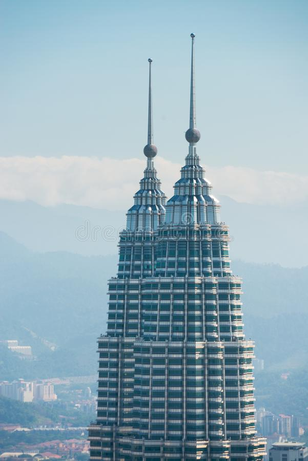 Κορυφή των κτηρίων δίδυμων πύργων Petronal στοκ φωτογραφία με δικαίωμα ελεύθερης χρήσης