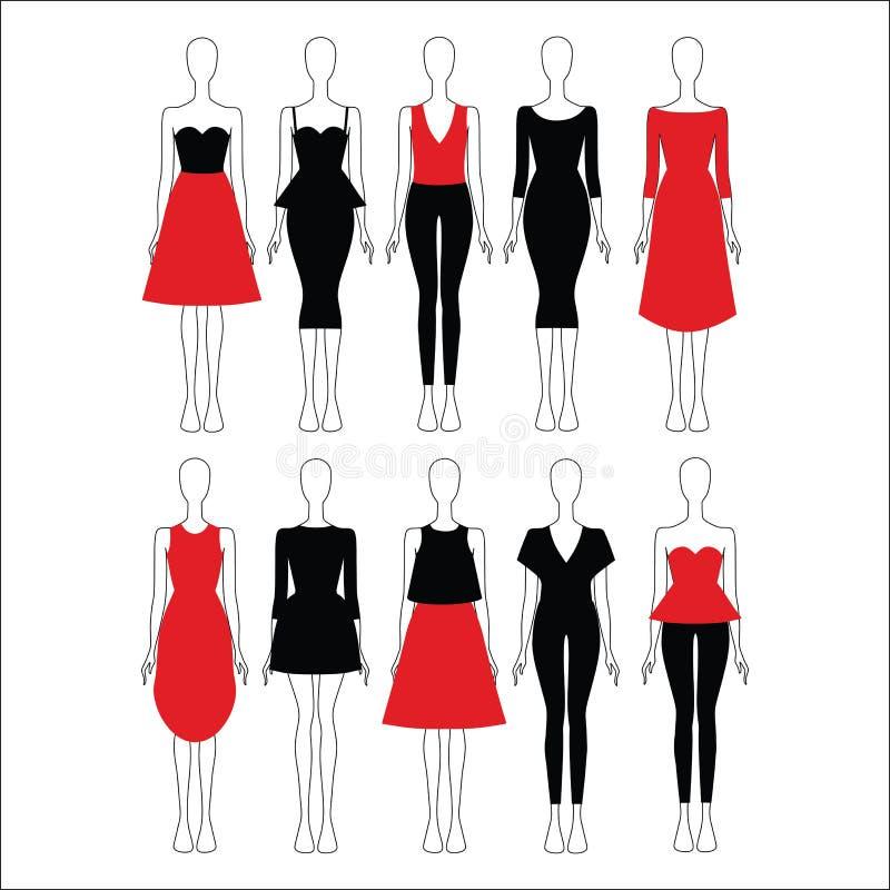κορυφή blowgun Φόρεμα εσώρουχα φούστα ένα σύνολο συνόλων ιματισμού των γυναικών διανυσματική απεικόνιση