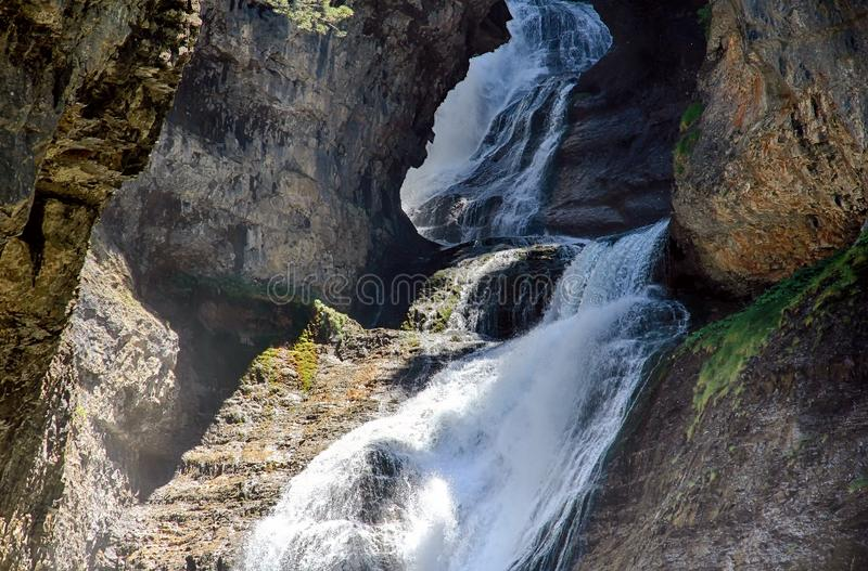 Κορυφή Cascada del Estrecho στο εθνικό πάρκο Ordesa στοκ φωτογραφία με δικαίωμα ελεύθερης χρήσης
