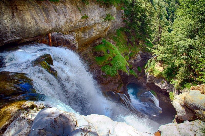 Κορυφή Cascada del Estrecho στο εθνικό πάρκο Ordesa στοκ φωτογραφίες με δικαίωμα ελεύθερης χρήσης