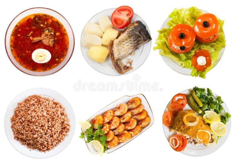 Κορυφαία όψη λίγων πιάτων με τα τρόφιμα στοκ εικόνες