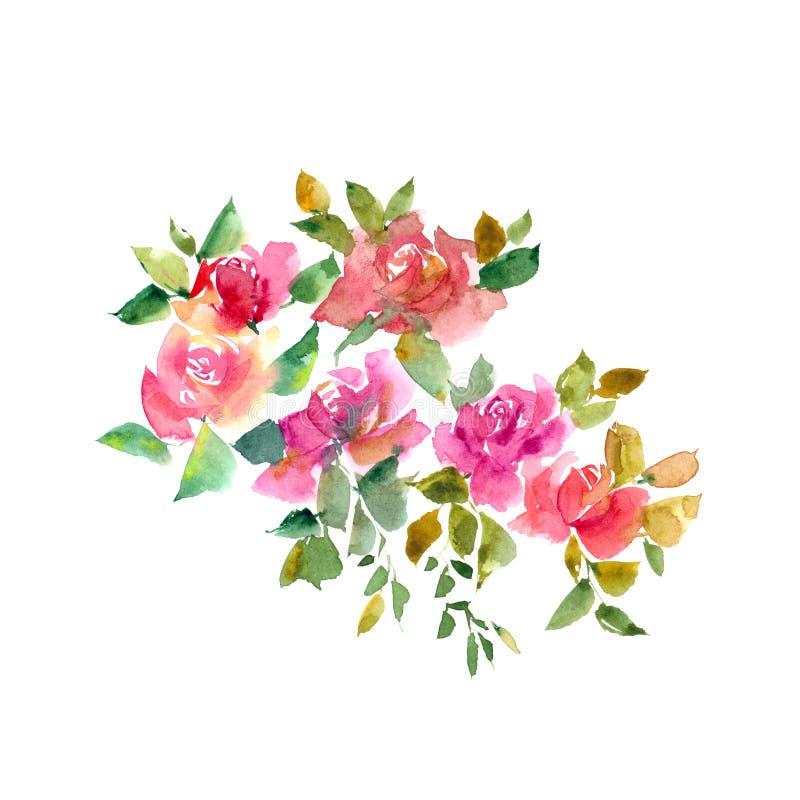 κορυφαία όψη τριαντάφυλλων ανθοδεσμών Τριαντάφυλλα Watercolor λεπτομερές ανασκόπηση floral διάνυσμα σχεδίων Floral σχέδιο φθινοπώ ελεύθερη απεικόνιση δικαιώματος