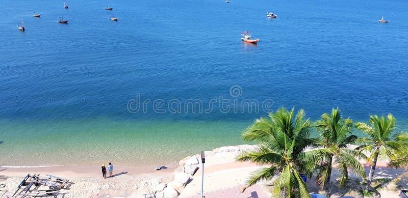 Κορυφαία όψη όμορφης θάλασσας, παραλίας, φοινικοκαρυδιού και αλιευτικΠστοκ φωτογραφία με δικαίωμα ελεύθερης χρήσης