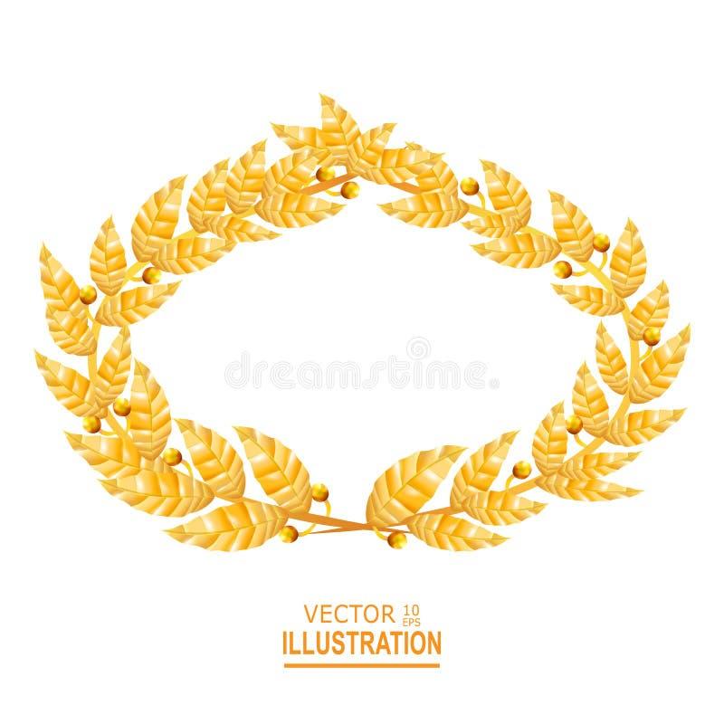 Κορώνα δαφνών Ελληνικό στεφάνι με τα χρυσά φύλλα επίσης corel σύρετε το διάνυσμα απεικόνισης ελεύθερη απεικόνιση δικαιώματος
