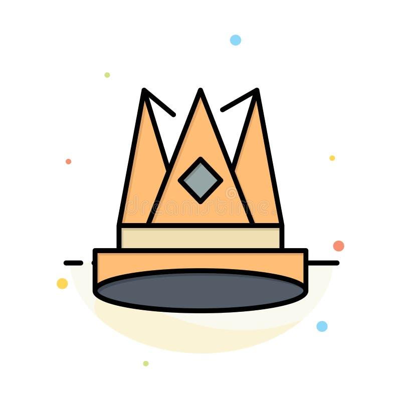 Κορώνα, βασιλιάς, αυτοκρατορία, πρώτα, θέση, αφηρημένο επίπεδο πρότυπο εικονιδίων χρώματος επιτεύγματος ελεύθερη απεικόνιση δικαιώματος