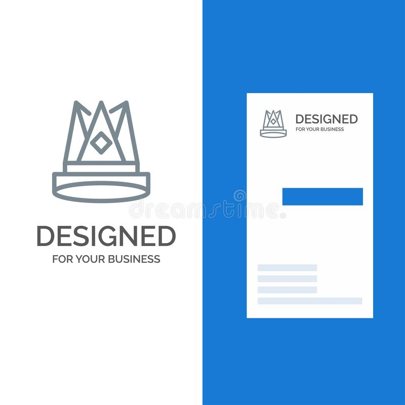 Κορώνα, βασιλιάς, αυτοκρατορία, πρώτα, θέση, γκρίζο σχέδιο λογότυπων επιτεύγματος και πρότυπο επαγγελματικών καρτών διανυσματική απεικόνιση