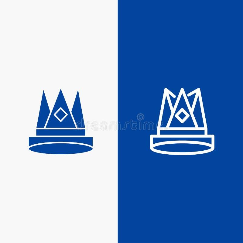 Κορώνα, βασιλιάς, αυτοκρατορία, πρώτα, θέση, γραμμή επιτεύγματος και στερεό μπλε έμβλημα εικονιδίων Glyph απεικόνιση αποθεμάτων